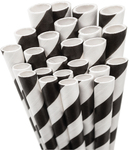Black White Striped Paper Straws
