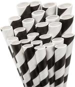 Black White Striped Paper Straws