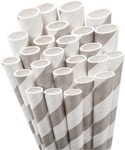 Light Grey Striped Paper Straws