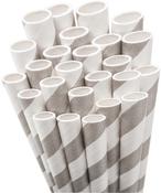Light Grey Striped Paper Straws