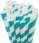 Aqua White Stripe Paper Straws