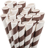 Brown Striped Paper Straws Fun and nostalgic your next party must have - Aardvark paper drinking straws are proudly made in the USA from FDA approved materials and non-toxic, food contact safe inks. They are biodegradable and 100% chlorine free.    Our seasonal colors are an excellent addition to your next holiday party. You could plan your entire party around our colorful and nostalgic paper straws!    This package contains fifty 7 3/4  unwrapped paper drinking straws.