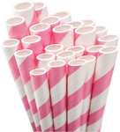 Light Pink Striped Paper Straws
