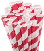 Red White Striped Paper Straws