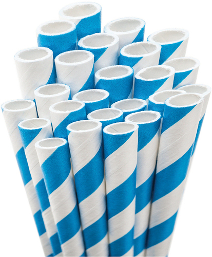 Blue White Striped Paper Straws