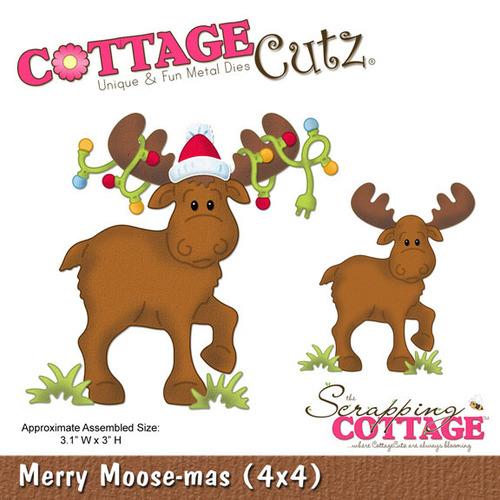 Merry Moose - mas 4x4 Metal Die - Cottage Cutz