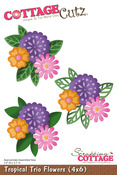 Tropical Trio Flowers 4x6 Metal Die - Cottage Cutz