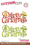 Merry Christmas Greeting 4x6 Metal Die - Cottage Cutz