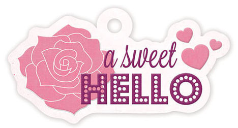 Sweet Hello Embossed Tag - Crazy For You - We R Memory Keepers