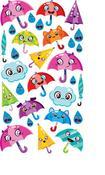 Umbrella Friends Epoxy Foil Stickers