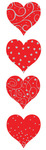 Red & Silver Heart Stickers - Mrs. Grossmans