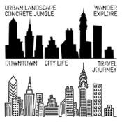 Mini Urban Landscape 6 x 6 Template - Crafters Workshop