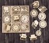 Typewriters/Clocks Wood Embellishment Pieces - Prima