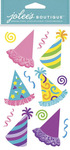 Bright Party Hats Dimensional Stickers - Jolees