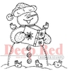 Snowman Caroling Rubber Stamp - Deep Red Stamps