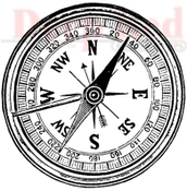 Compass Rubber Stamp - Deep Red Stamps
