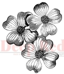 Dogwood Flowers Rubber Stamp - Deep Red Stamps