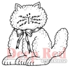 Fluffy Cat with Bow Rubber Stamp - Deep Red Stamps