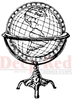 Antique Globe Rubber Stamp - Deep Red Stamps