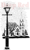 Winter Church Rubber Stamp - Deep Red Stamps