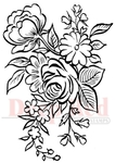 Floral Arrangement Rubber Stamp - Deep Red Stamps