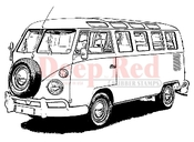 VW Bus Rubber Stamp - Deep Red Stamps