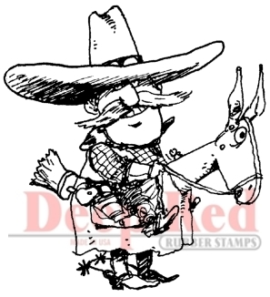 Cowboy Rubber Stamp - Deep Red Stamps