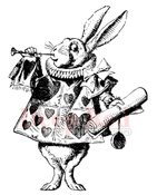 White Rabbit Rubber Stamp - Deep Red Stamps