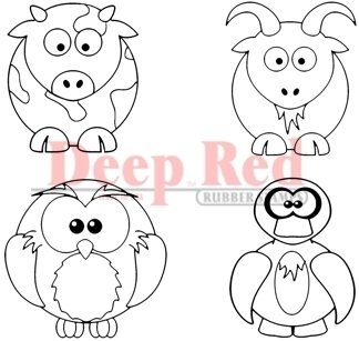 Round Farm Animals Rubber Stamp Set - Deep Red Stamps