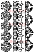 Vintage Lace Borders Set of 3 Rubber Stamps - Deep Red Stamps