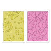 Damask & Beaded Floral Stripe Embossing Folder Set - Brenda Walton
