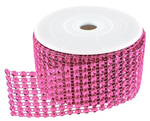 "Diamond Mesh 3mm Rhinestone Crystal Ribbon Fuchsia Pink - 12"""