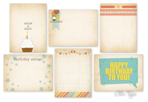 Birthday Cake Journaling Tag Cards - Chic Tags