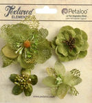 Moss Green Mixed Textured Blossoms - Petaloo