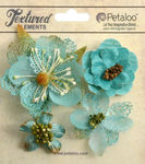 Teal Mixed Textured Blossoms - Petaloo