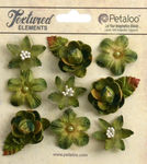 Moss Green Mixed Textured Mini Blossoms - Petaloo