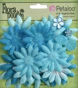 Soft Blue Fabric Daisy Layers - Petaloo