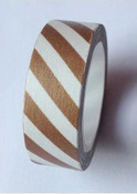 Brown White Stripes Washi Tape - Love My Tapes