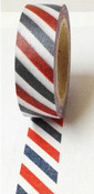 Black Grey Red Stripes Washi Tape - Love My Tapes