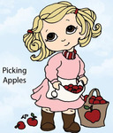 Picking Apples Rubber Stamp - Little Darlings