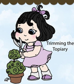Trimming The Topiary Rubber Stamp - Little Darlings