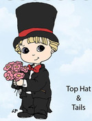 Top Hat And Tails Rubber Stamp - Little Darlings