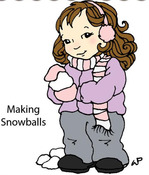 Making Snowballs Rubber Stamp - Little Darlings