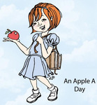 An Apple a Day Rubber Stamp - Little Darlings