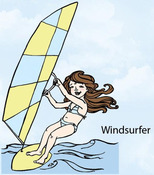 Windsurfer Rubber Stamp - Little Darlings