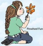 Pinwheel Fun Rubber Stamp - Little Darlings