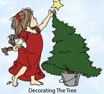Decorating The Tree Rubber Stamp - Little Darlings