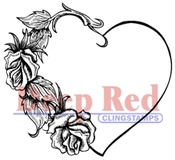 Heart With Roses Rubber Stamp - Deep Red Stamps