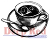 Flourish Latte Rubber Stamp - Deep Red Stamps