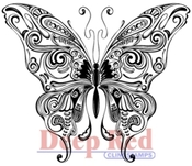 Butterfly Swirl Rubber Stamp - Deep Red Stamps